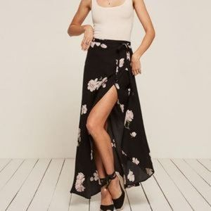 Reformation Lucia Floral Print Wrap Maxi Skirt